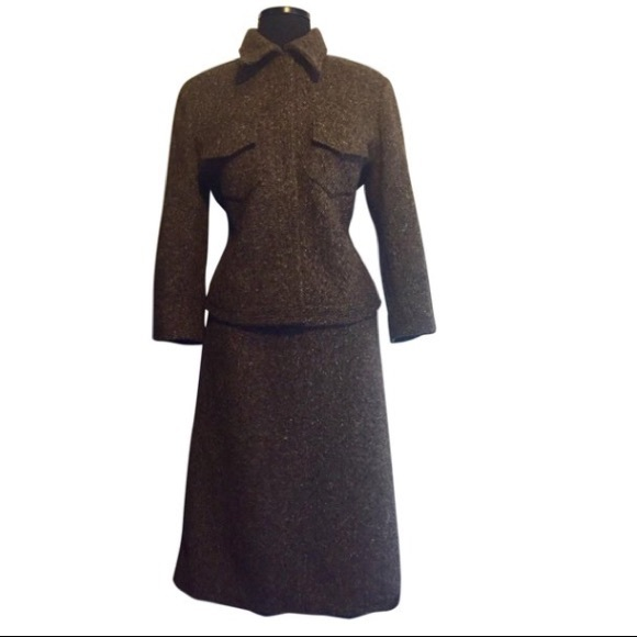 Made In Italy Dresses & Skirts - Vintage Made In Italy Brown Tweed Suit